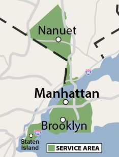 Our New York service area map, showing our services in Brooklyn and nearby